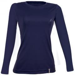 Camiseta ML  Dry Cool UPF50+ Fem Azul Marinho - CONQUISTA