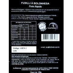 COMIDA LIOFILIZADA FUSILLI A BOLONHESA LIOFOODS